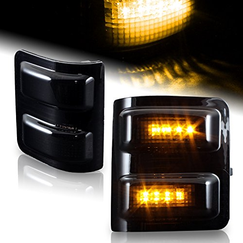 Kaze Tuning 2008-2016 Ford Super duty Side Mirror Running Signal Lights Smoked Lens With Amber LED 2008 2009 2010 2011 2012 2013 2014 2015 2016 08 09 10 11 12 13 14 15 16