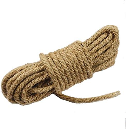 Wolike MS002 - Cuerda de cáñamo natural de 10 metros de largo, 6 mm de grosor y cuerda de yute fuerte, para camping, jardín, barcos, trucos de guerra, ...