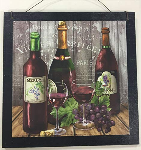 Paris Merlot Wine Decor Wooden Kitchen Wall Art Sign