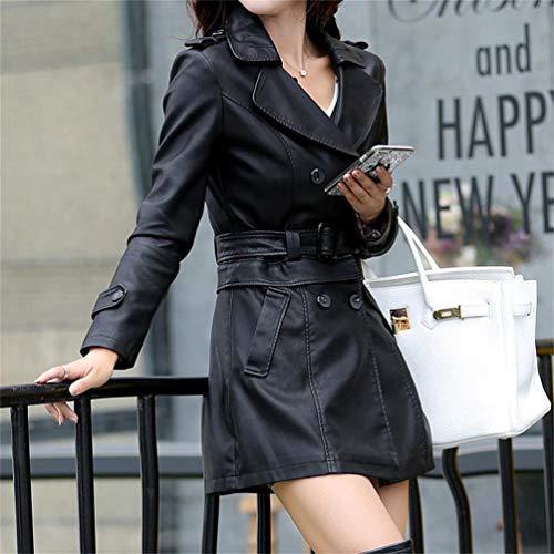 Manteaux Femmes Manches Faux Casual Manches Zipper Qixuan Cuir Veste Longues Longues Noir Longues Pf1qUnZ
