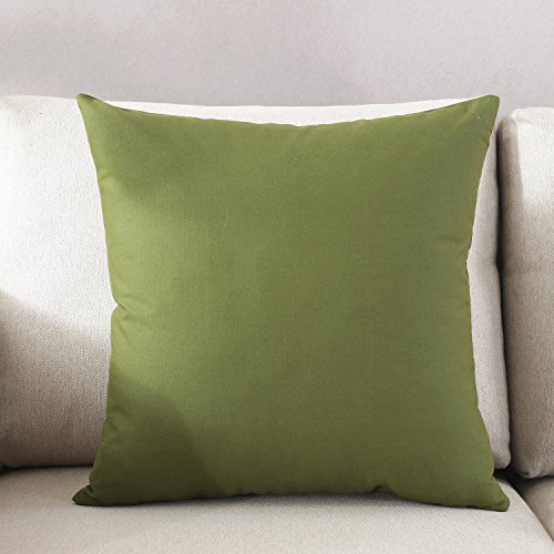 TAOSON Decorative 100% Cotton Canvas Square Solid Toss Pillowcase Cushion Cover Pillow Cover with Hidden Zipper Closure Only Cover No Insert - Olive Green 18