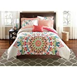 Teen Girls Queen Size Rainbow Unique Prism Pink Blue Green Colorful Patten Bedding Set (8 Piece Bed in a Bag)
