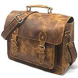 Leather DSLR Camera Bag 15.6-Inch Laptop Briefcase - Shoulder Bag Messenger Satchel w/Removable Insert - Fits Professional Size DSLR with Lens