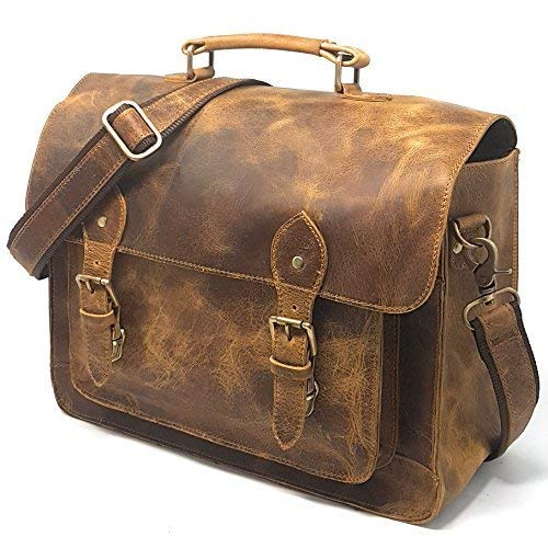 Leather DSLR Camera Bag 15.6-Inch Laptop Briefcase - Shoulder Bag Messenger Satchel w/Removable Insert - Fits Professional Size DSLR with Lens (Best Dslr Camera Company)
