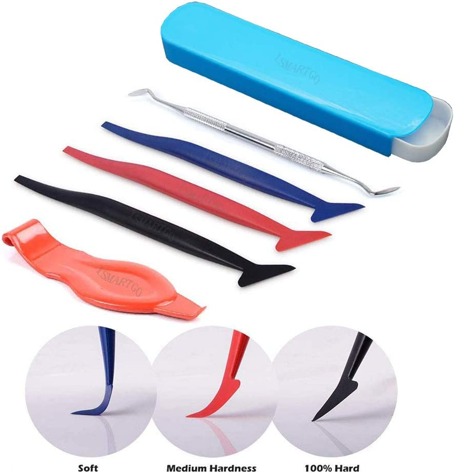 Car Vinyl Wrap Tool Kit Include Stainless Steel Edge Wraps and Flexible Micro Squeegee Curves Slot Tool Set with Different Hardness for Installing vinyl wrap cars