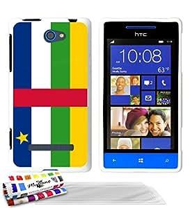 """Carcasa Flexible Ultra-Slim HTC 8S de exclusivo motivo [Bandera Centro de Africa] [Blanca] de MUZZANO  + 3 Pelliculas de Pantalla """"UltraClear"""" + ESTILETE y PAÑO MUZZANO REGALADOS - La Protección Antigolpes ULTIMA, ELEGANTE Y DURADERA para su HTC 8S"""