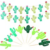 BBTO 2 Pack Cactus Banner Garland and 24 Pieces Cactus Cupcake Toppers for Tropical Party Birthday Party Festival Luau Hawaii Children's Party Decoration