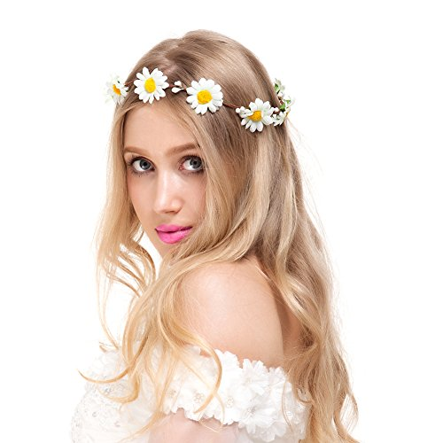 Valdler Little Daisy Flower Headband Crown with Adjustable Ribbon for Wedding Festivals Ivory -