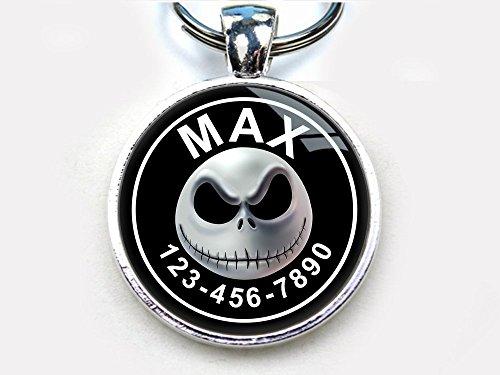 (Pet Tags Halloween Christmas Skull Custom pet ID Tag Dog tag cat (Large)