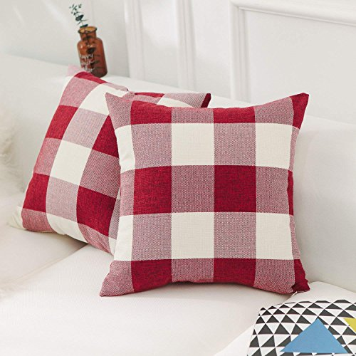 CHICCAT Retro Farmhouse Decorative Pillow Covers Checkered Plaid Cotton Linen Throw Pillow Case Cushion Cover Pillowcase for Sofa, Set of 2, 18inch (45cm), (Red)