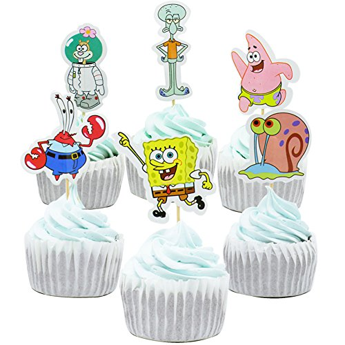 Betop House Set of 24 Pieces Animal Cupcake Topper Picks for Baby Shower Birthday (SpongeBob)]()