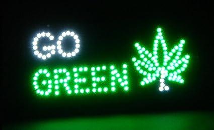 Amazoncom Go Green W Marijuana Leaf 19x10 Flashing Led Sign