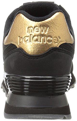 Ny Balans Kvinna 574 Smält Metall Pack Mode Sneaker Svart / Guld