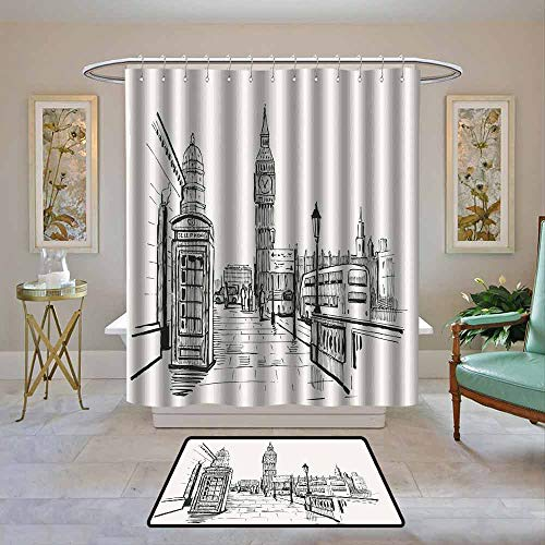 Kenneth Camilla01 Waterproof Shower Curtain Modern,London City with Big Ben Monument Scene in Sketch Style British Famous Town Artwork,Beige Black,Bathroom Curtains for Shower with Hooks Set 72
