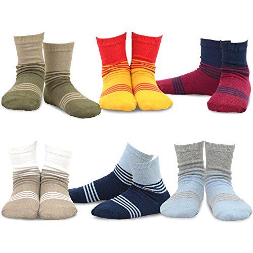 Block Stripe Socks - Naartjie Boys Cotton Sports Crew Socks Stripes Color Block 6 Pair Pack (3-5Y)