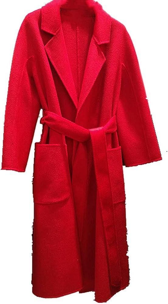 NOBRAND Manteau longue pour femme automne et hiver Rouge