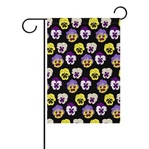 Mesllings Double Sided Family Flag Yellow and Purple Pansy Flowers Polyester Outdoor Flag Home Party Decro Garden Flag - 28 x 40 ()