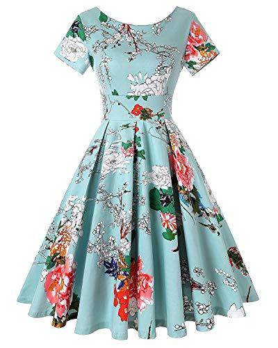 50s Retro Crew Neck Rockabilly Floral Short Sleeve Audrey Dress Cocktail Dress (Floral Light Blue,Size XL)