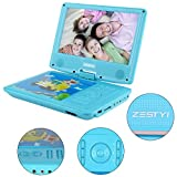 Portable DVD Player for Kids, ZESTYI 9'' Mobile DVD Player with Car Headrest Mount, 3 Hours Rechargeable Battery, Car Charger, SD Card Slot, USB Port & Swivel Screen (Blue)