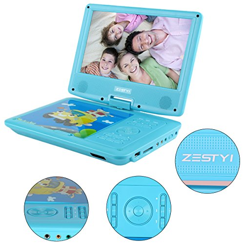 Portable DVD Player for Kids, ZESTYI 9″ Mobile DVD Player with Car Headrest Mount, 3 Hours Rechargeable Battery, Car Charger, SD Card Slot, USB Port & Swivel Screen (Blue)