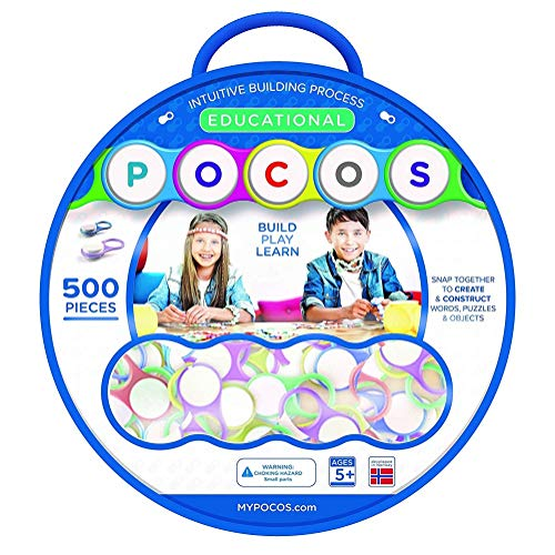 - POCOS Educational Toy- Build and Create Puzzles - Necklaces - Key Chains -Bracelets - 500 Pieces -Snap Together To Form Objects - Educational Toys - Jewelry Maker Kit - Includes Pack of 500 POCO Links