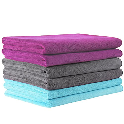 JML Microfiber Towels, Bath Towel Sets (6 Pack, 27 x 55) - Extra Absorbent, Fast Drying & Antibacterial, Multipurpose for Bath, Swimming, Fitness, Sports, Yoga, Grey/Rose Pink/Light Blue