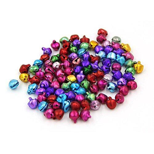 - 100pcs Mini Jingle Bells Christmas Xmas Wedding Decoration Beads Jewelry Findings Charms, Coloured 6mm