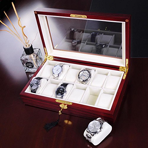 LEESONS New 12 Cherry Wood Glass Top Watch Display Case Jewelry Box Collector Mens Gift