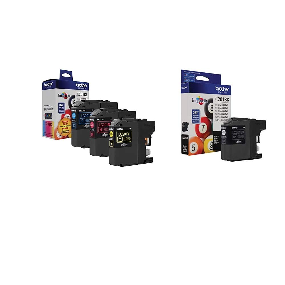 Genuine Brother LC201 LC-201 Color Bk//C//M//Y Ink Cartridge 5-Pack Includes 2 L...