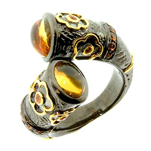Tingle Sterling Silver Ring for Women Unique Black Rhodium Ring Yellow Gold Frower Size Adjusted Ring 925 Sterling Silver Golden Crystal Vintage Ring (Golden Crystal, 7)