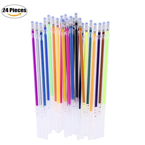 Qiaoshiren Gel Pen Refills Gel Ink Refills for Adult Coloring Books Crafting Doodling Scrapbooking Drawing Glitter Metallic Pastel Standard Colors 24 Pcs