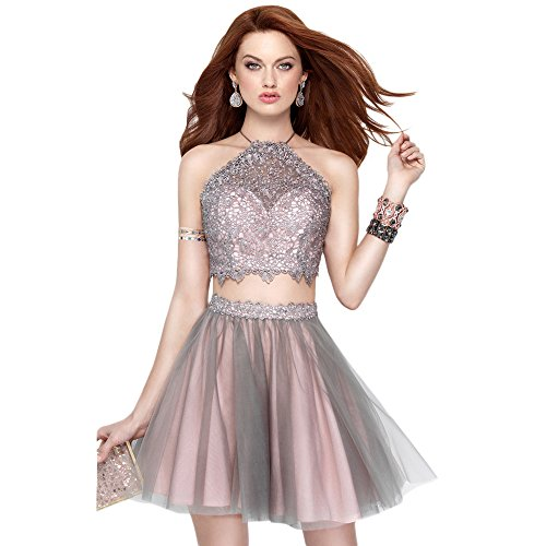 Alyce Paris Two Piece Lace Halter & Tulle Skirt Cocktail Dress Rosewater/Stone – 10