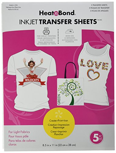 (HeatnBond EZ Print Transfer Sheet for Light Fabrics, 5 Sheets, 8.5 Inches x 11 Inches )