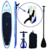 """Atlantis Paddle Boards SUP Inflatable Paddle Board 10'6"""" & 6"""" Thick, Oversize Mat For Dogs or Doubles. Includes Carrier Bag, Floating Adjustable Paddle & Dual Action High Pressure Pump w/ PSI Gauge."""