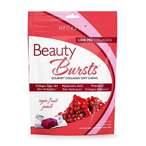 (NeoCell Beauty Bursts Collagen Soft Chews - 2,000mg Collagen Types 1 & 3 - Super Fruit Punch Flavor - 60 Count)