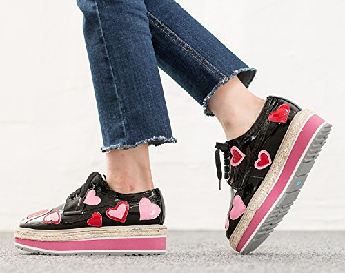 Annakastle Mujeres Heart Patches Plataforma Oxfords Chunky Creeper Zapatos Negro