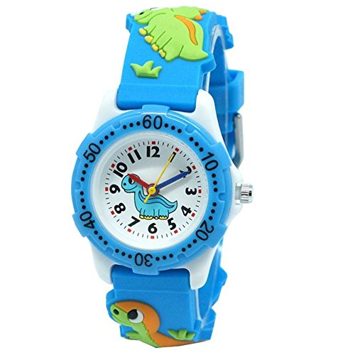 (Jewtme Cute Toddler Children Kids Watches Ages 3-8 Analog Time Teacher 3D Silicone Band Cartoon Watch for Little Girls Boys (Dinosaur-Blue-Plastic)