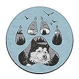 KJDS Anti-Slip Animal Paw Print Round Floor Cushion Pad Slipcover 16 Inch