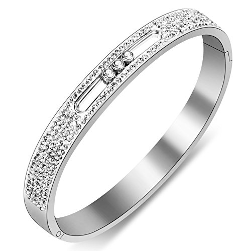 Yeemer Stainless Steel Bracelets Bangles with Inlaid Sparkling Swarovski Crystals Diamonds 7