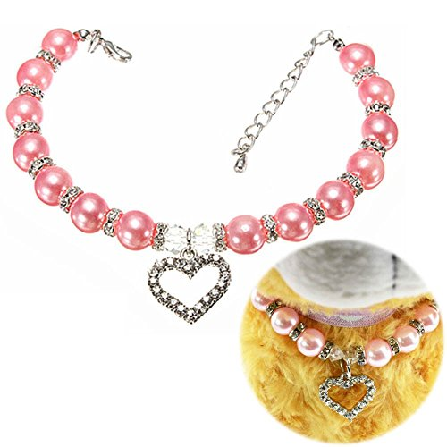[Fancy Pet Cat Dog Necklace Jewelry with Bling Pearls Rhinestones Heart Charm for Pets Cats Small Dogs Female Puppy Chihuahua Yorkie Girl Costume Outfits, Adjustable and Handmade] (Dog Girl Costumes)