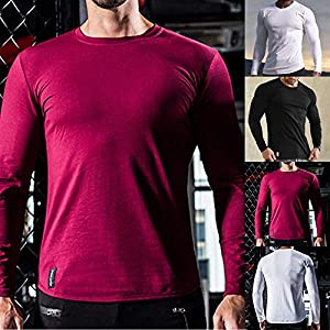 Sikye Men's Pure Color Cotton Tee Casual Sport Slim Fit Breathable Shirt Blouse for Running Activewear