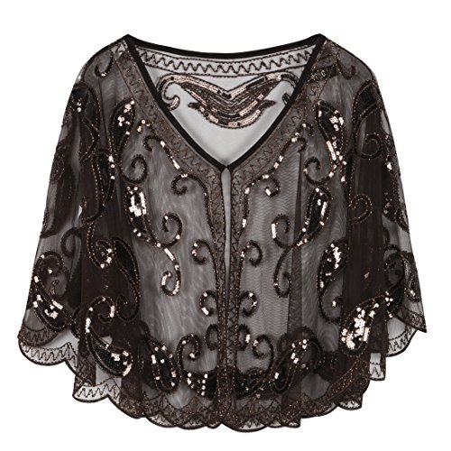 (PrettyGuide Women's Evening Cape 1920s Vintage Flapper Cocktail Beaded Shawl)