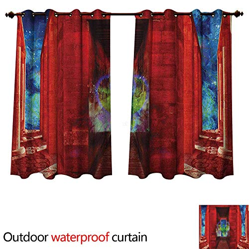 Anshesix Egypt Home Patio Outdoor Curtain Phoenix Greek Mythical Creature Reborn Bird in Building with Stairs Digital Image W96 x L72(245cm x 183cm) (Curtains Patio Phoenix Outdoor)