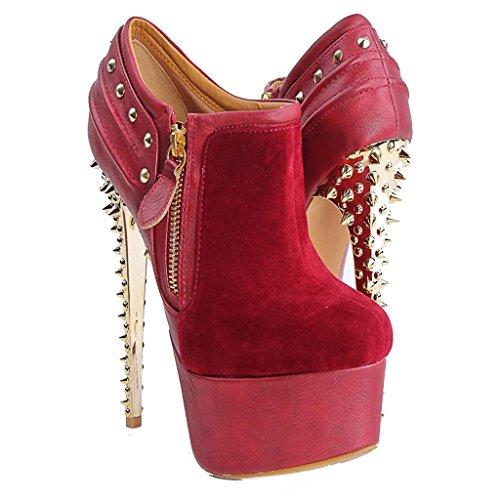 Inverno Booties del signora RED di caviglia caviglia tallone Taglia rivettati Caricamenti larga Pelle impermeabili della della a 44 posto dell'alto Autunno lavoro Stivaletti 38 8004FD Stivaletti Red fz8AqZ