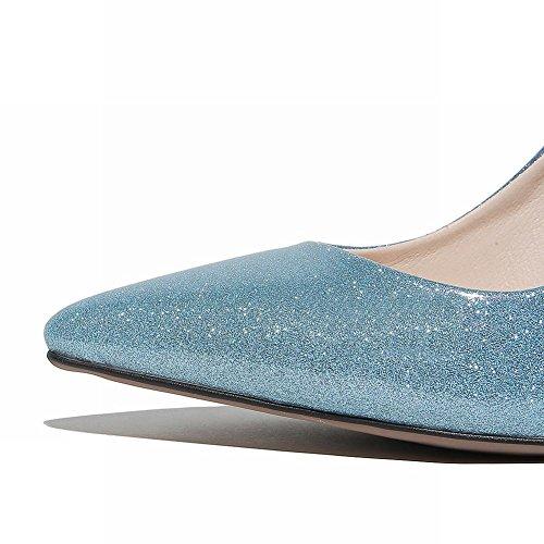 Carolbar Womens Pointed Toe Snake Print Sequins Stilettos Pumps Dress Shoes Blue 9GLIv