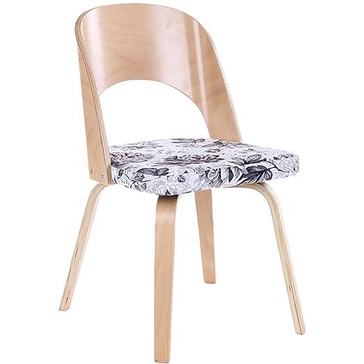 Silla de comedor de madera maciza nórdica, silla de café ...