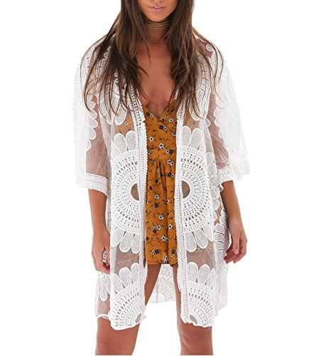 (Women's Bathing Suit Kimono Beach Cover Up Lace Crochet Pool Swimwear (White, M))