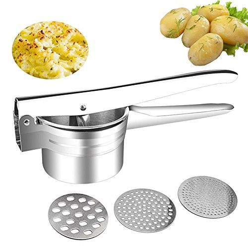 Selaurel Stainless Steel Potato Ricer Masher Heavy Duty Food Presser Baby Food Strainer with 3 Pieces Interchangeable Ricing Discs for Purple Potato Pumpkin Lemon Fruit Juicer (Potato Masher)