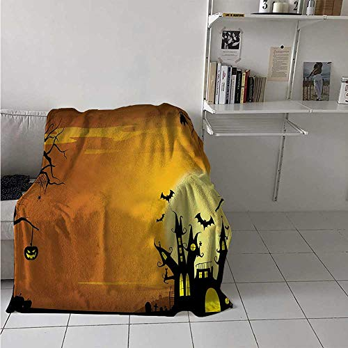 maisi Halloween Super Soft Lightweight Blanket Gothic Haunted House Bats Western Spooky Night Scene with Pumpkin Drawing Art Oversized Travel Throw Cover Blanket 70x50 Inch Orange Black]()