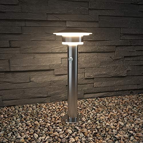 NBHANYUAN Lighting® LED Außenlampe Pfostenlichter mit Bewegungsmelder Standleuchte 0.47m Aussenwandleuchten für Pfad Terasse Garten Silber Edelstahl 3000K Warmweiß Licht 1000LM 9.5W IP44 (mit Sensor)